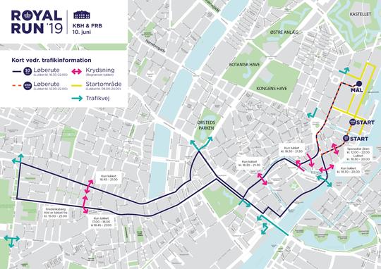 Trafikale ændringer i København og på Frederiksberg i forbindelse med Royal Run