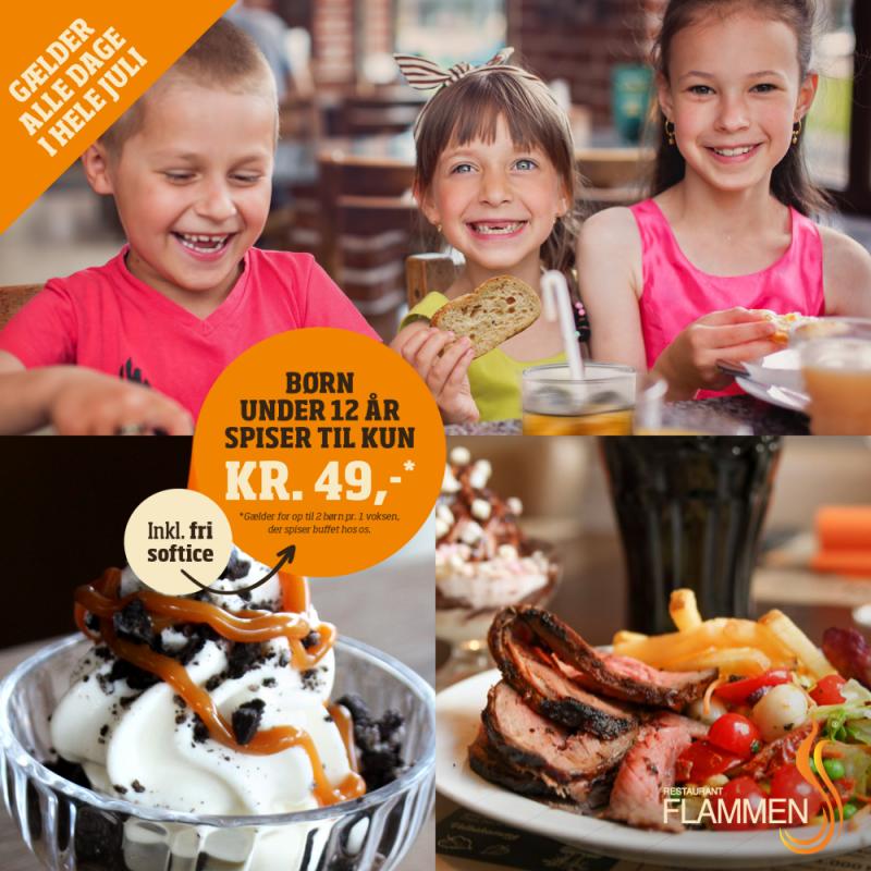 Børn under 12 år spiser nemlig vores populære buffet for kun 49 kr. inkl. fri softice