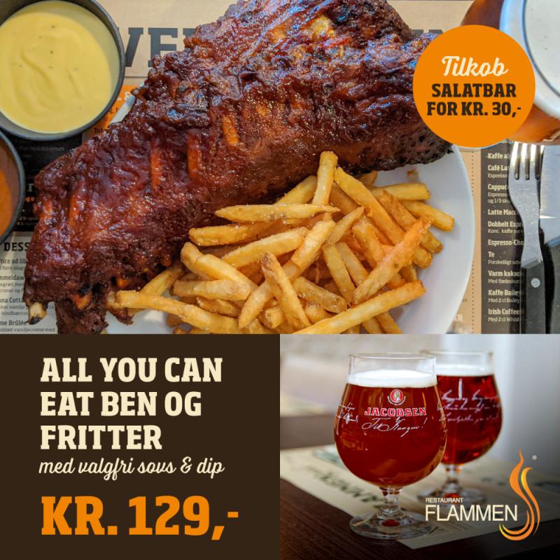 Sælges: Middag hos Flammen til 129 kr.